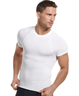 One Flat Jack Mens Body Shaper, Seamless Crew Neck T Shirt