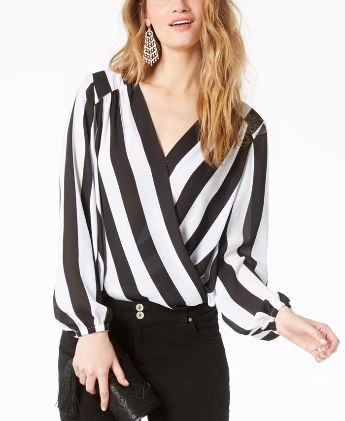 INC International Concepts - Striped Surplice Top