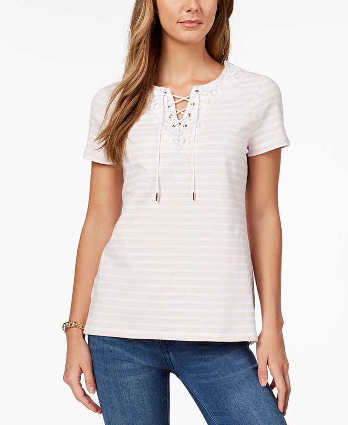 Charter Club - Embroidered Lace-Up T-Shirt