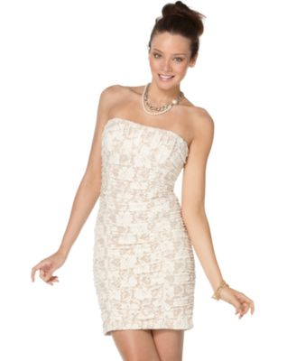 XOXO Dress, Sleeveless Lace Strapless Fitted