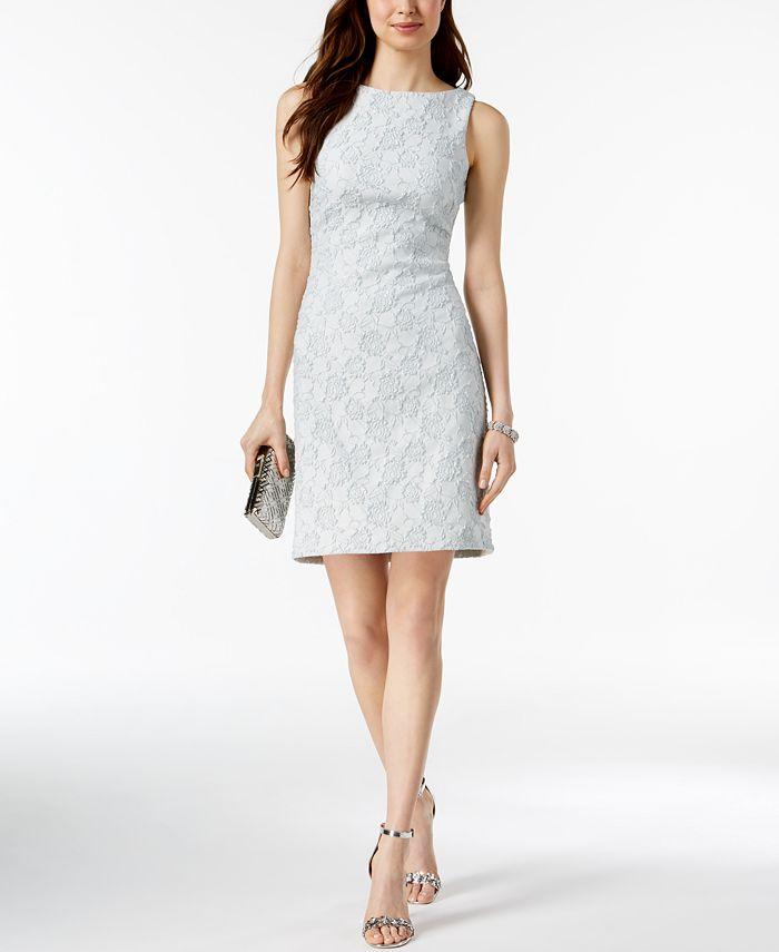 Donna Ricco - Metallic Jacquard Sheath Dress