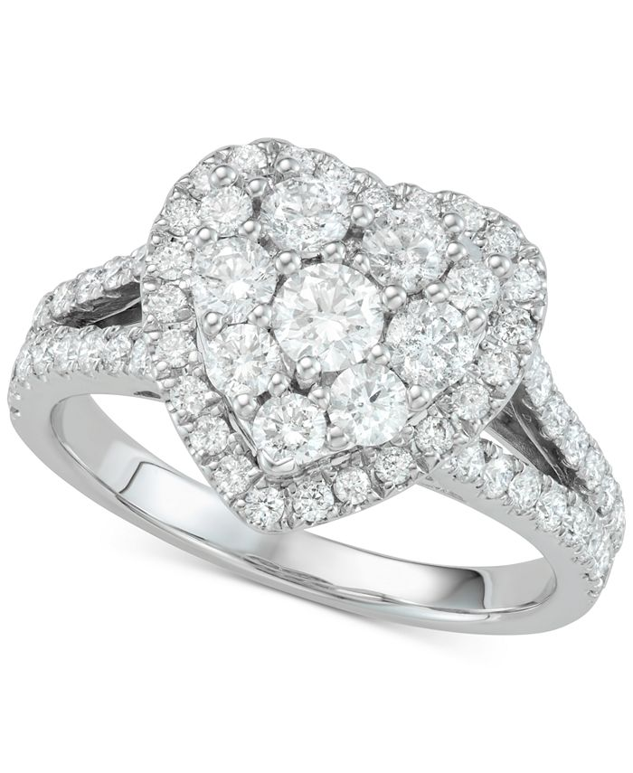 Macy's - Diamond Heart Cluster Engagement Ring (1-1/2 ct. t.w.) in 14k White Gold