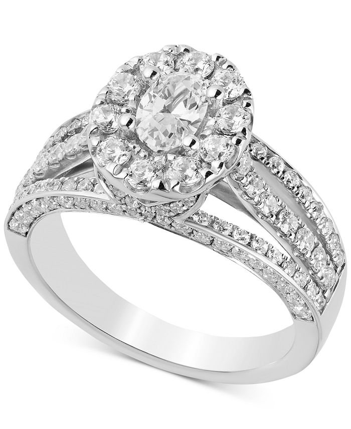Macy's - Diamond Oval Halo Engagement Ring (1-3/4 ct. t.w.) in 14k White Gold