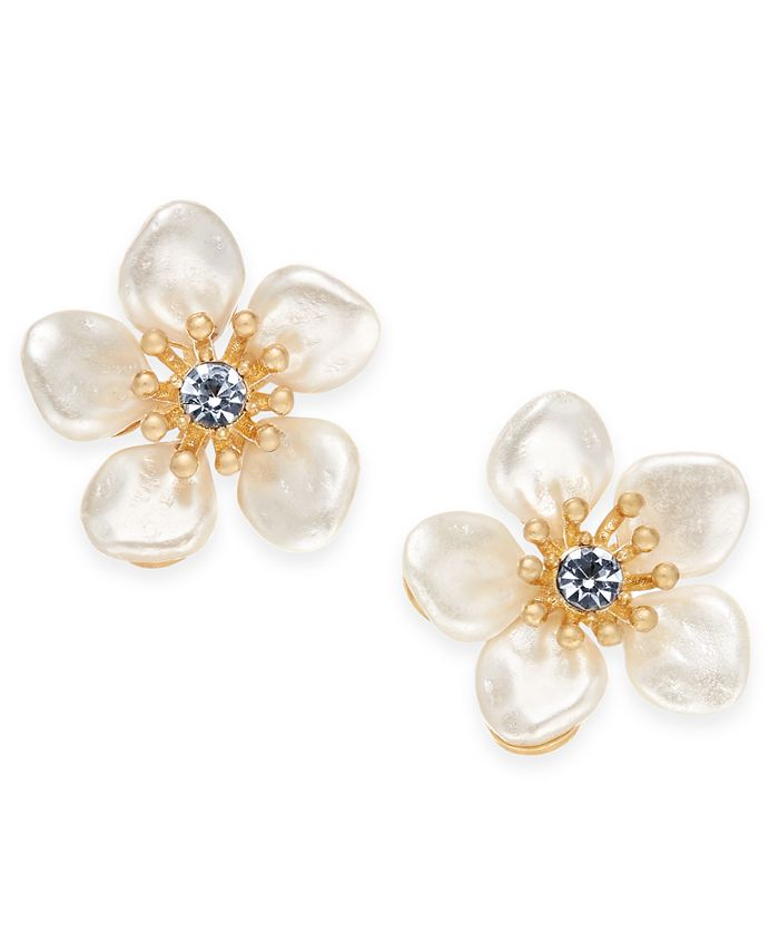 lonna & lilly - Gold-Tone Crystal & Imitation Pearl Flower Stud Earrings