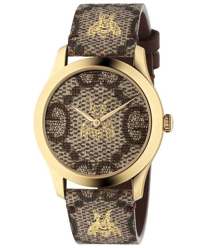 Gucci - Unisex Swiss G-Timeless GG Supreme Canvas Strap Watch 38mm