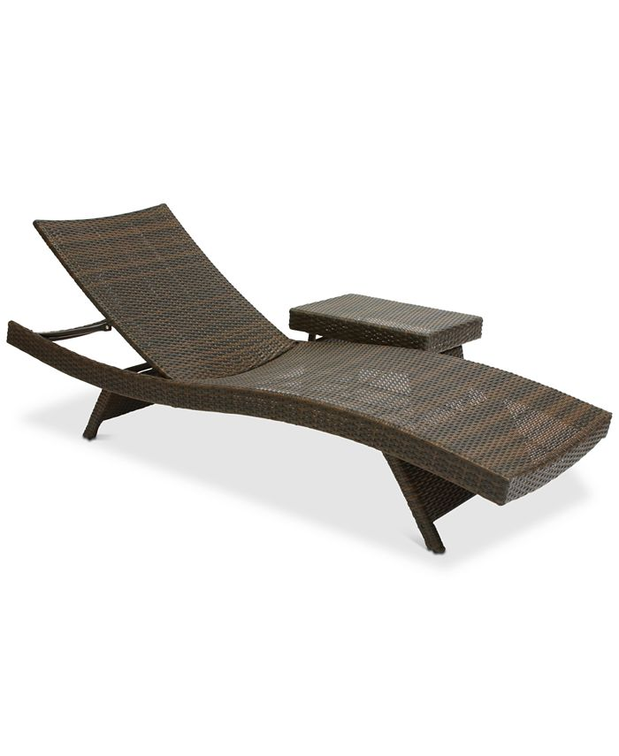 Noble House - Monterey Outdoor Chaise Lounge and Table Set, Quick Ship