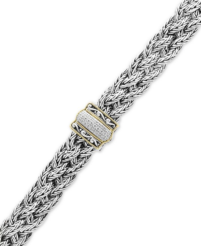 EFFY Collection - Diamond Braided Bracelet (1/10 ct. t.w.) in Sterling Silver & 18k Gold