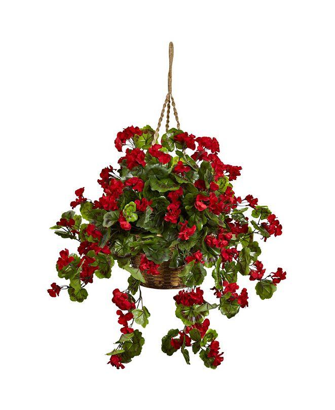 Nearly Natural Geranium UV-Resistant Indoor/Outdoor Hanging Basket