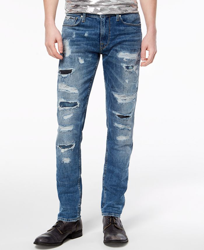 GUESS - Men's Slim Tapered Ripped Jeans