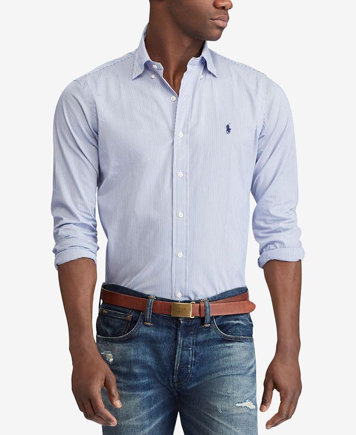 Polo Ralph Lauren Men's Slim Fit Hairline Stripe Poplin Shirt ...