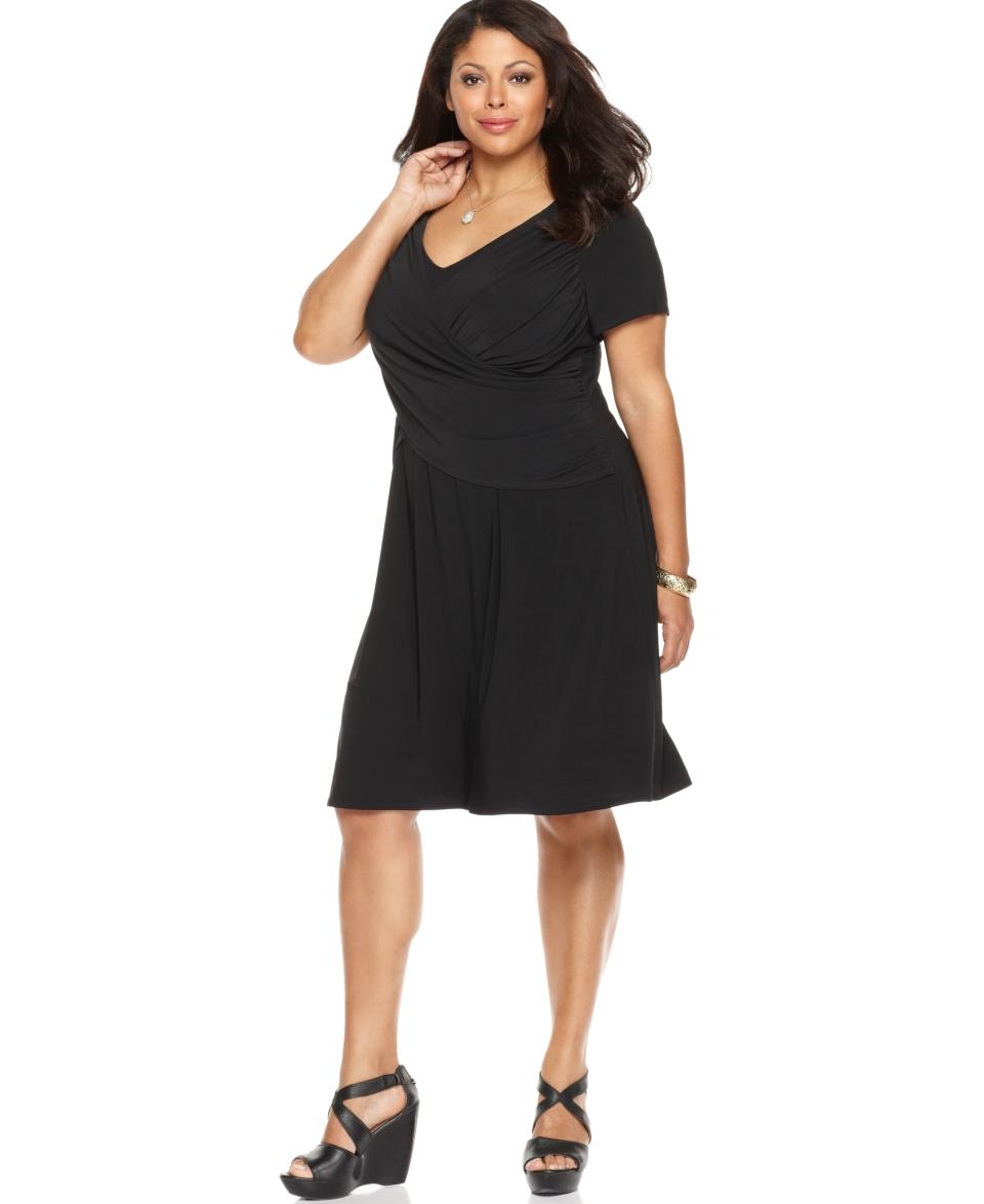 Elementz Plus Size Dress, B Slim Short Sleeve Cross Front