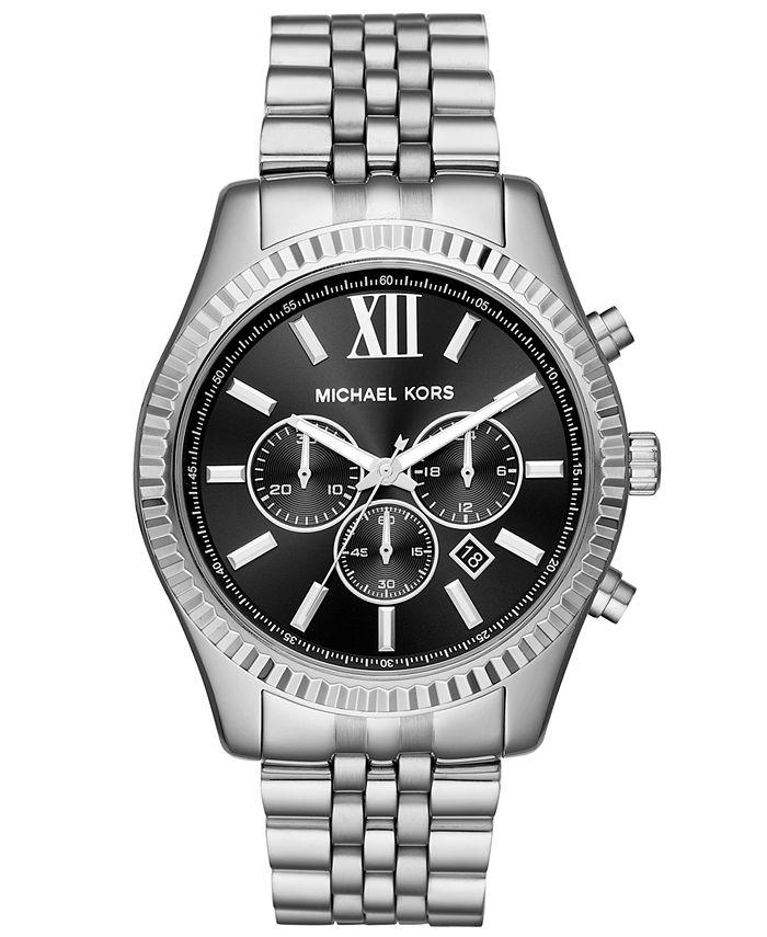 Michael Kors - Men's Chronograph Lexington Stainless Steel Bracelet Watch 44mm