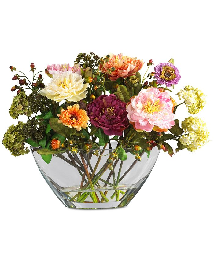 Nearly Natural - Peony Flower Arrangement with Glass Vase