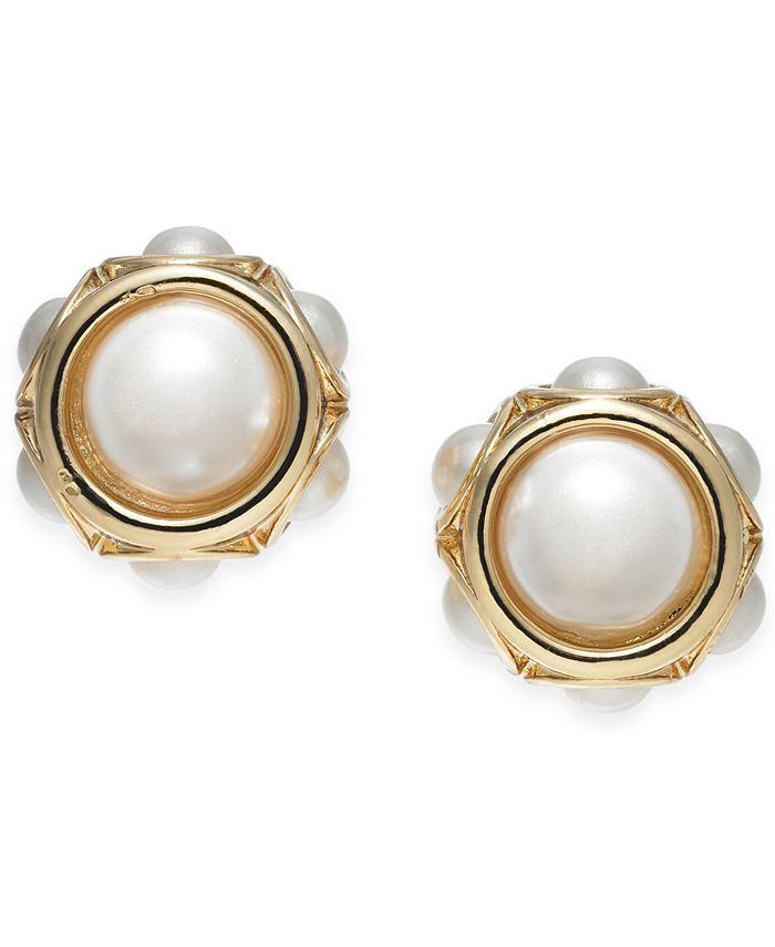 Charter Club - Gold-Tone Imitation Pearl Stud Earrings
