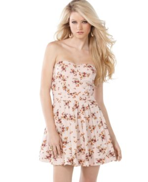Jessica Simpson Dress, Strapless Sweetheart Floral Printed Bustier A Line Bubble Sundress