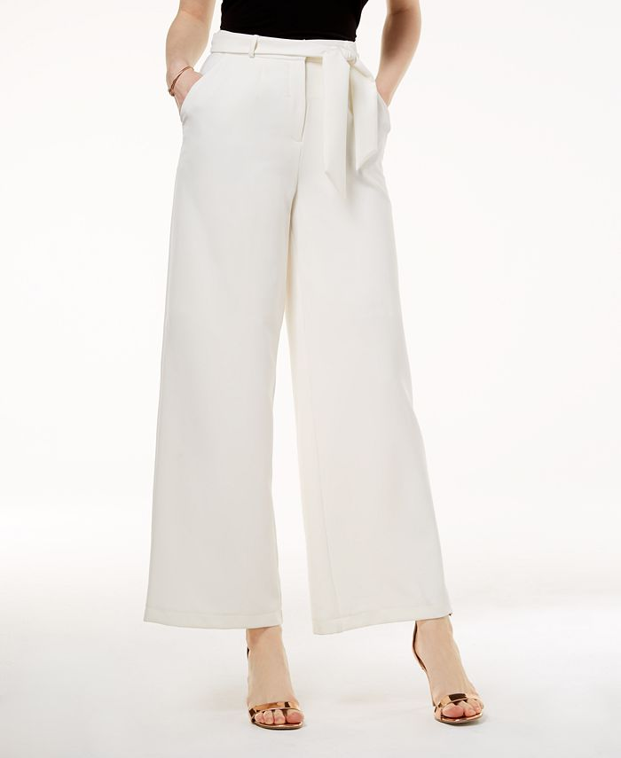 The Edit By Seventeen - Juniors' Belted Crepe Wide-Leg Pants