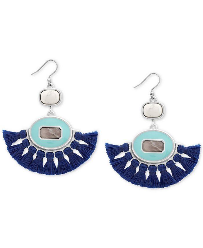 Lucky Brand - Silver-Tone Stone & Tassel Fringe Drop Earrings