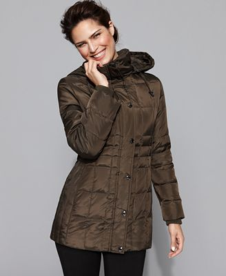 London Fog Coat Hooded Quilted Down Puffer Coats