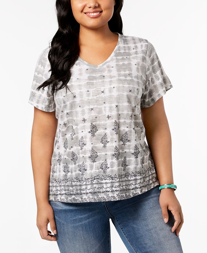 Style & Co - Plus Size Cotton Mixed-Print T-Shirt
