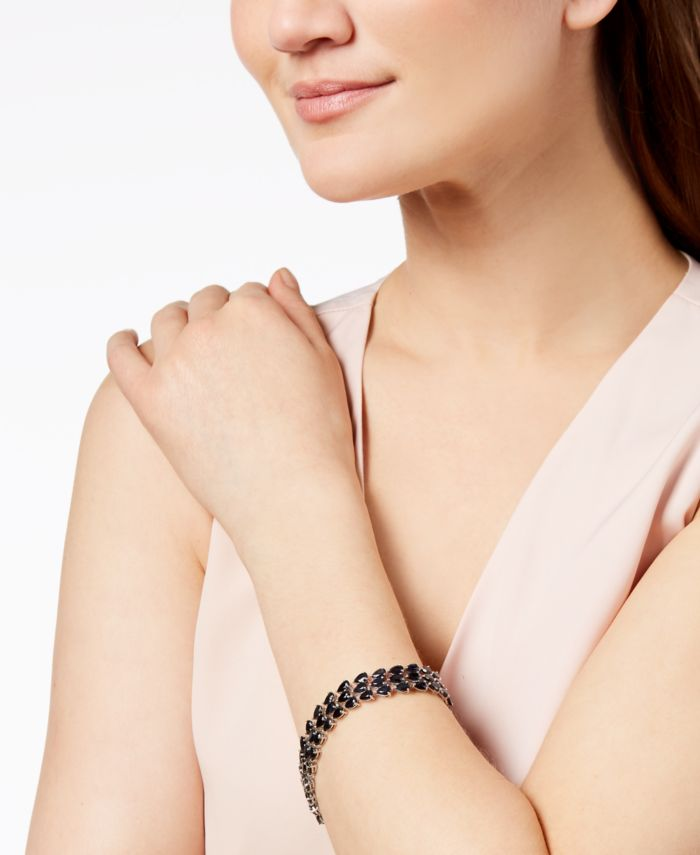 Macy's Black Sapphire Three-Row Bracelet in Sterling Silver (43 ct. t.w.), Created for Macy's & Reviews - Bracelets - Jewelry & Watches - Macy's