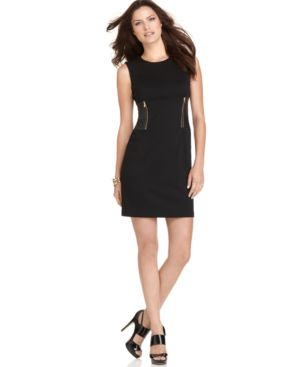 Calvin Klein Petite Dress, Sleeveless Faux Leather Panel Sheath Dress