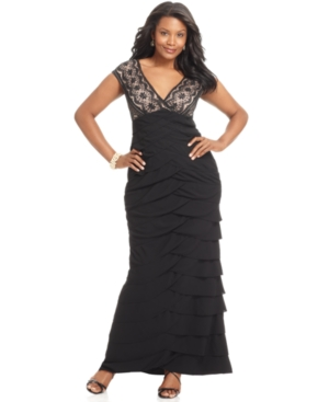 Adrianna Papell Plus Size Dress, Cap Sleeve Lace Overlay Tiered Pleated Evening Gown