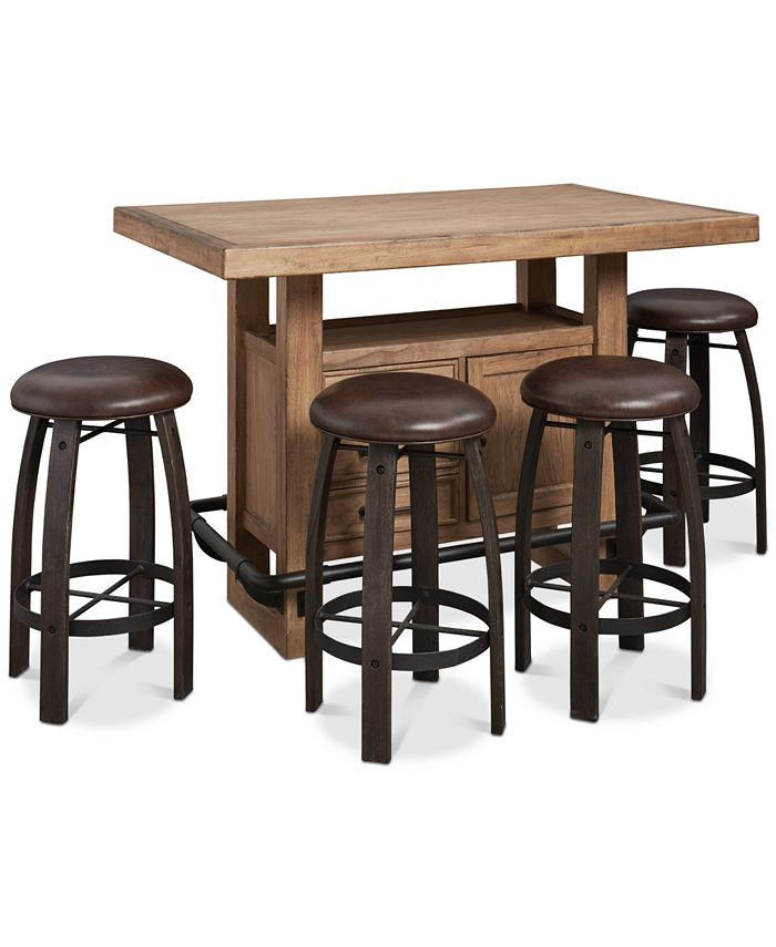 Furniture - Brewing Collection, 5-Pc.  Set (Storage Bar Table & 4 Whiskey Barrel Bar Stools)