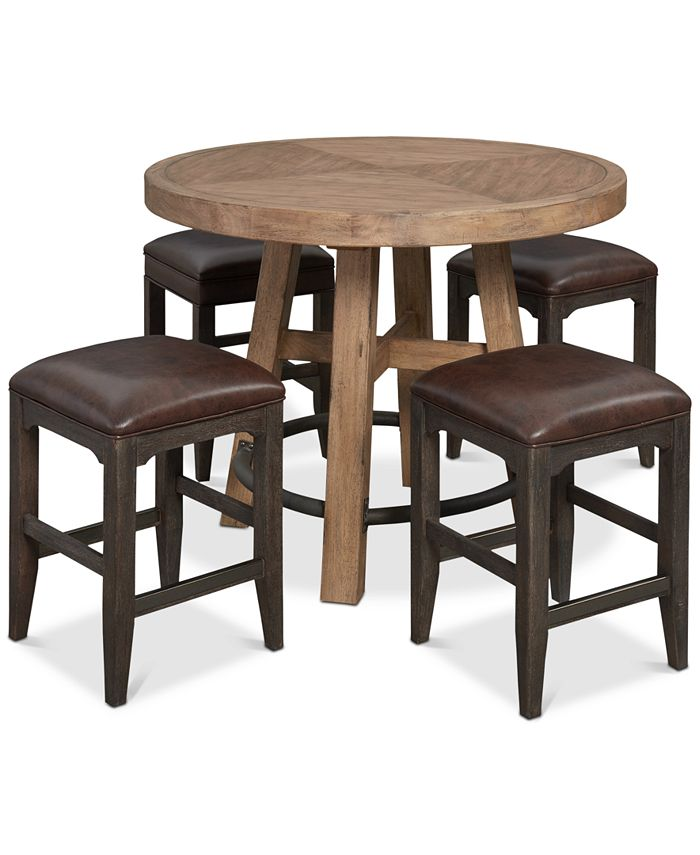 Furniture - Brewing Collection, 5-Pc.  Set (Gathering Round Table & 4 Lager Gathering Stools)