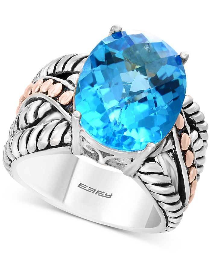 EFFY Collection - Blue Topaz Statement Ring (10-5/8 ct. t.w.) in Sterling Silver & 18k Rose Gold