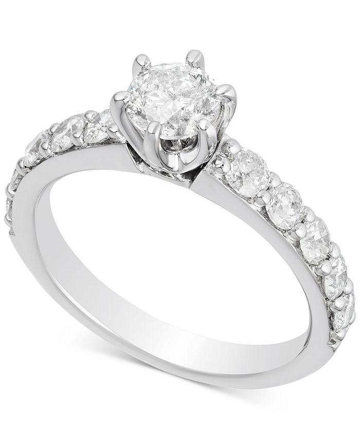 Macy's - Diamond Engagement Ring (1-1/2 ct. t.w.) in 14k White Gold