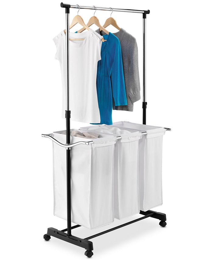 Honey Can Do - Rolling Laundry Cart with Hanging Bar