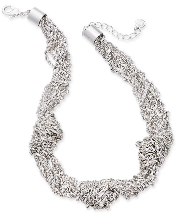 """Charter Club - Silver-Tone Multi-Chain Knotted Statement Necklace, 17"""" + 2"""" extender,"""