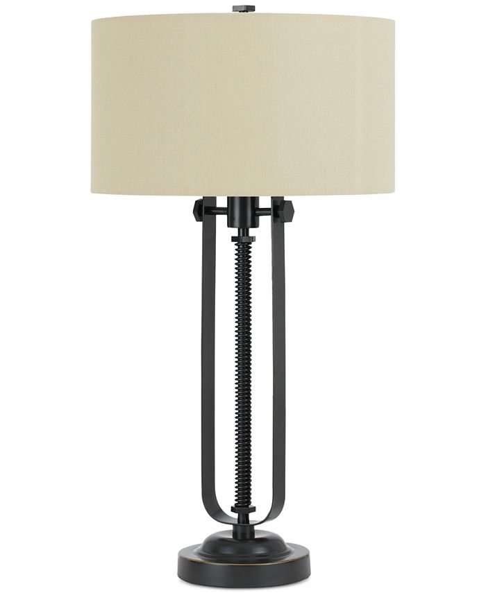 Cal Lighting - 3-Way Foggia Metal Table Lamp with Hardback Burlap Shade