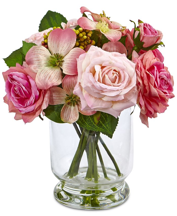 Nearly Natural - 10'' Rose & Berry Arrangement in Glass Vase