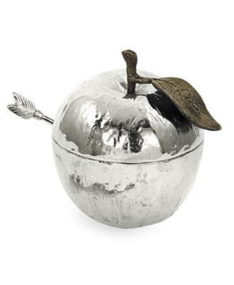 Michael Aram Nickel Plated Apple Honey Pot