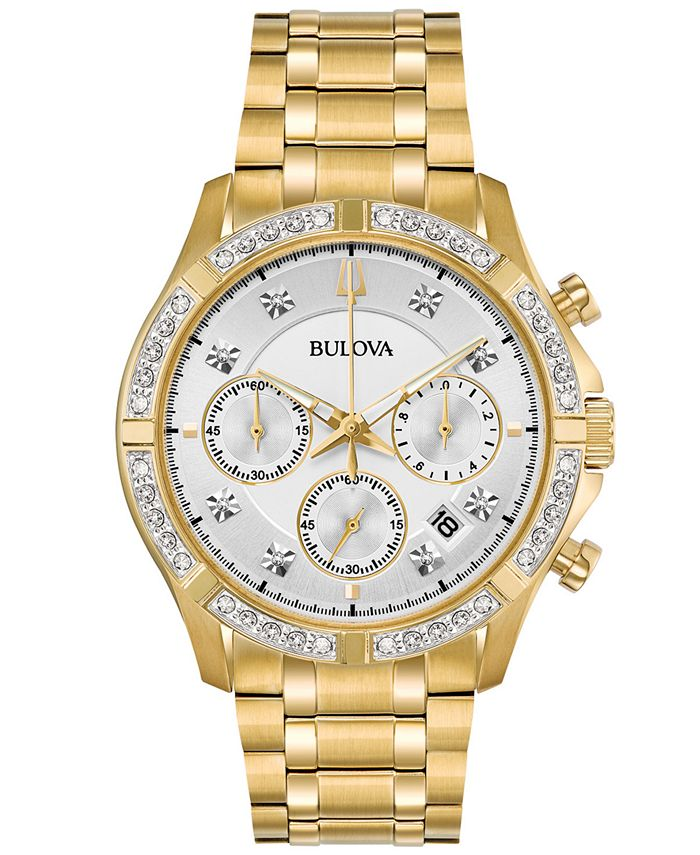 Bulova - Men's Chronograph Diamond-Accent Gold-Tone Stainless Steel Bracelet Watch 42mm, Created for Macy's