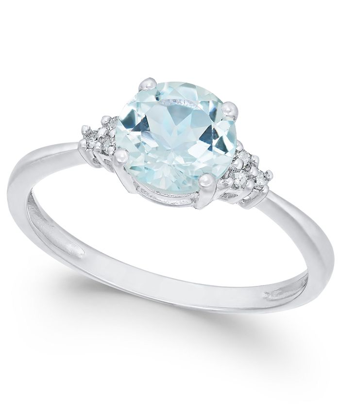 Macy's - 14k White Gold Aquamarine (1 ct. t.w.) and Diamond Accent Ring