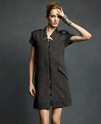 Karl Lagerfeld for Impulse Dress, Short Sleeve Metallic Tweed Zip Front Shift