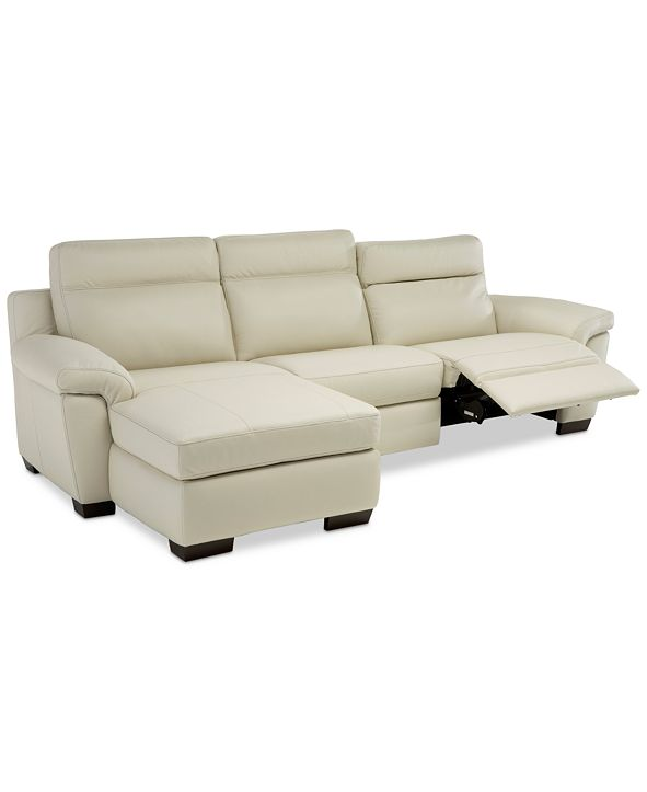 Furniture Julius II 3-Pc. Leather Sectional Sofa With 1 Power Recliner, Power Headrests, Chaise And USB Power Outlet