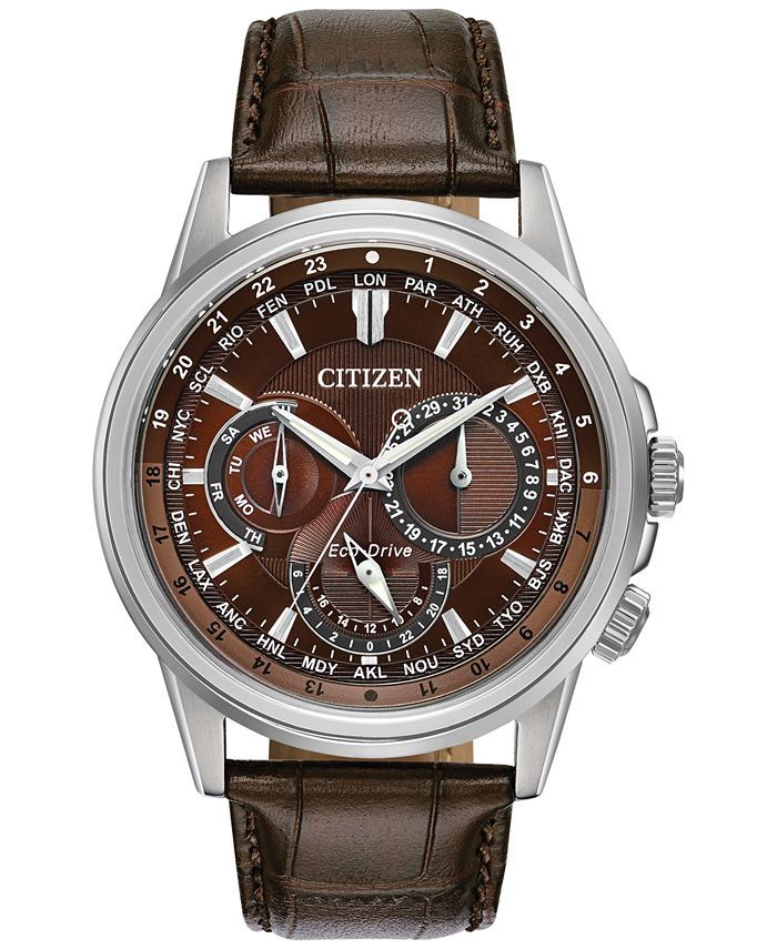 Citizen - Men's Calendrier Brown Leather Strap Watch 44mm