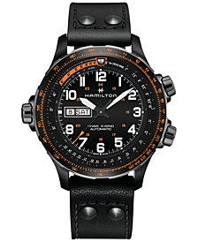 Hamilton Men's Swiss Automatic Khaki X-Wind Black Leather Strap Watch 45mm