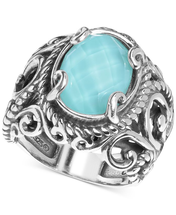 Carolyn Pollack - Turquoise Doublet Ring in Sterling Silver