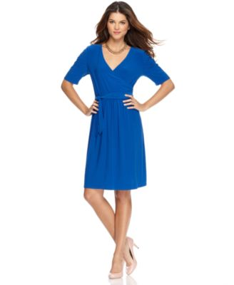 NY Collection Dress, Short Sleeve Solid Jersey Faux Wrap