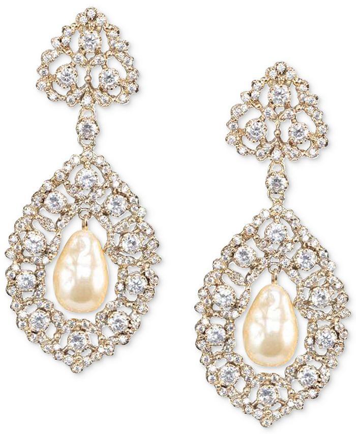 Nina - Gold-Tone Cubic Zirconia & Imitation Pearl Drop Earrings