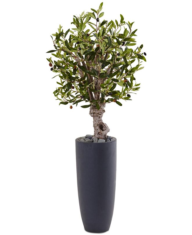 Nearly Natural 3.5' Olive Artificial Tree in Gray Cylinder Planter