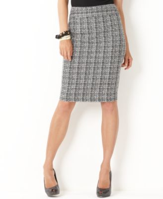 Charter Club Skirt, Tweed Plaid Pencil