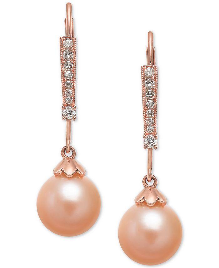 Macy's - Pink Cultured Freshwater Pearl (8mm) & Diamond (1/10 ct. t.w.) Linear Drop Earrings in 14k Rose Gold