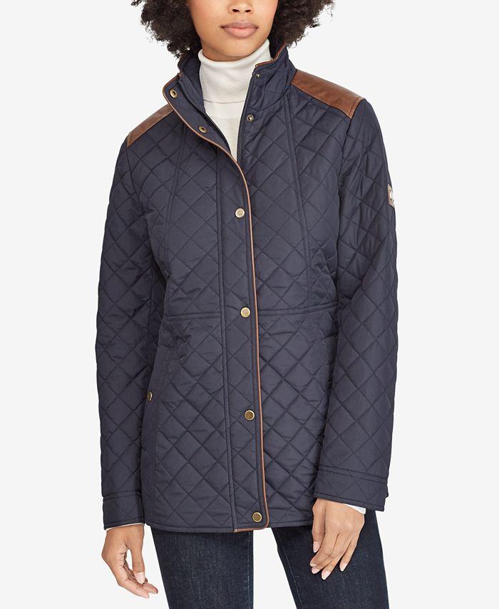 Lauren Ralph Lauren - Faux-Leather–Trim Quilted Jacket