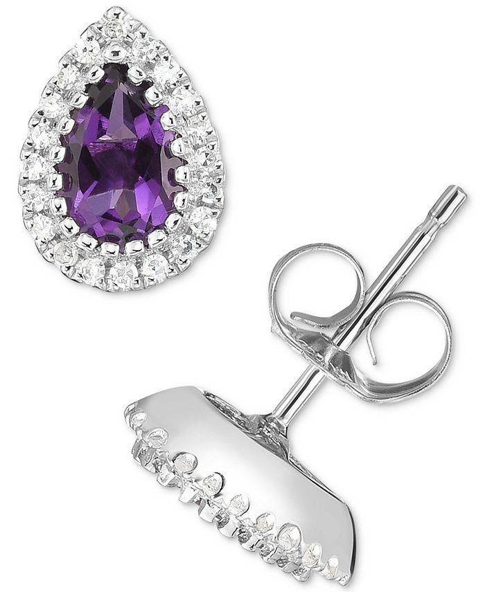 Macy's - Amethyst (3/4 ct. t.w.) & Diamond (1/8 ct. t.w.) Teardrop Stud Earrings in 14k White Gold
