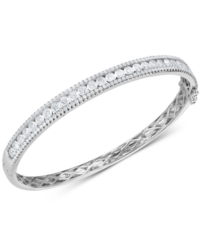 Arabella Cubic Zirconia Bangle Bracelet in Sterling Silver(Also Available in 18k Gold Plated Sterling Silver) & Reviews - Bracelets - Jewelry & Watches - Macy's